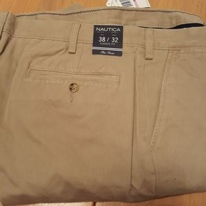 NEW! Nautica Flat Front Trousers 38x32 Classic Fit